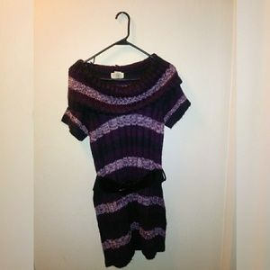 Off Shoulder Purple Sweater Dress